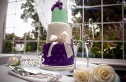 Mint Green and Purple Wedding Cake