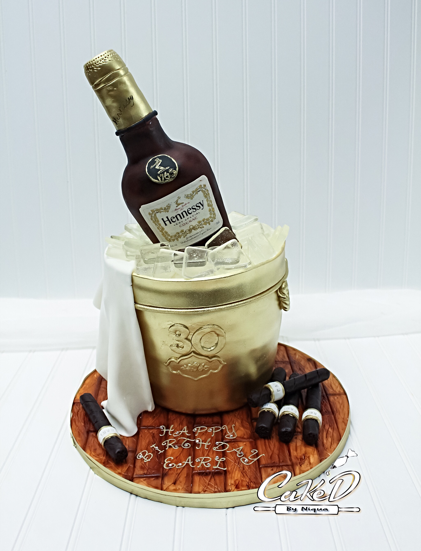 Gold Ice Bucket Cake with Cigars