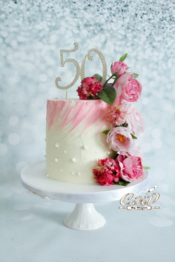 Pink Floral 50th Birthday Cake