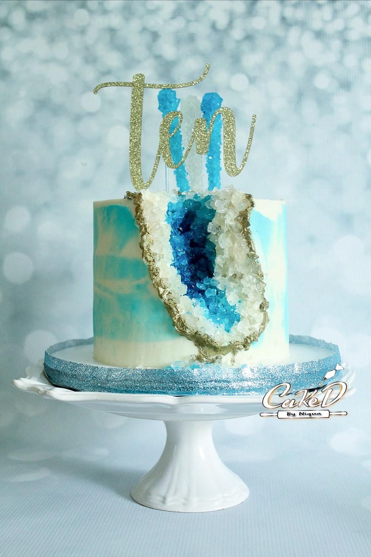 Blue Geode Birthday Cake