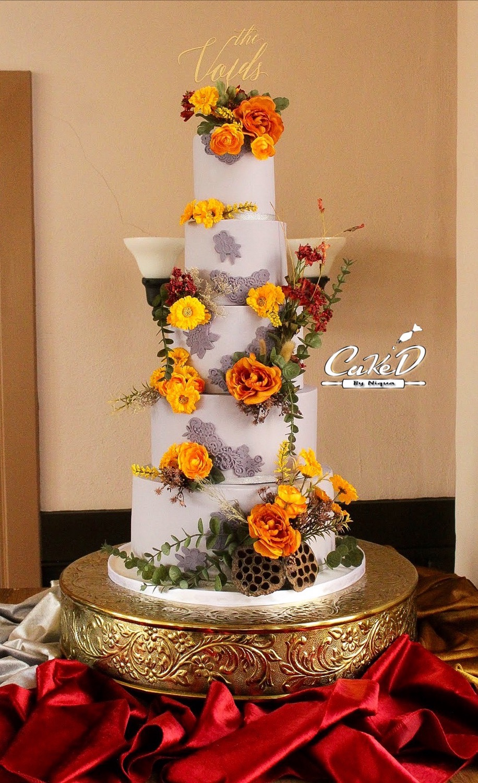 5 Tier Grey Lace Wedding Cake