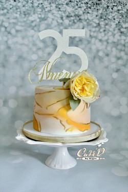 Gold and White Marble Cake