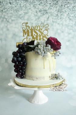 Wine Bottle Bridal Shower Cake