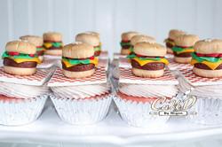 Five Guys Themed Hamburger Cupcakes