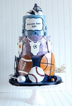 Sport Themed Baby Shower Cake