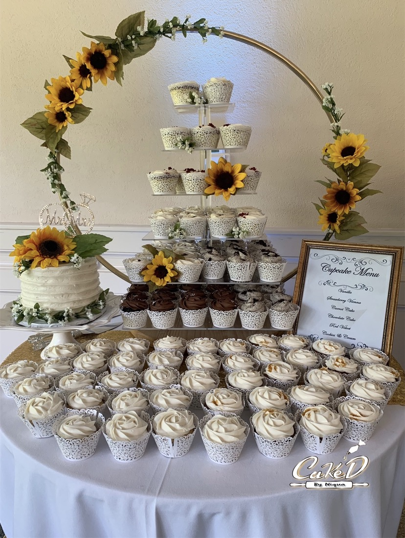 Sunflower Wedding Cupcake Tower