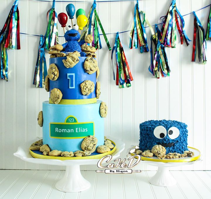 Cookie Monster Cake and Smash Cake