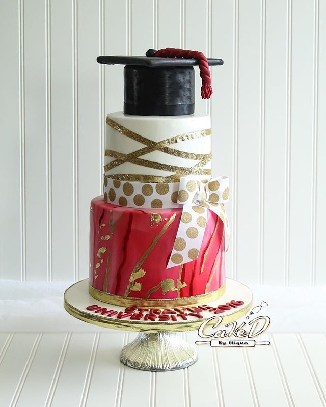 Red Marble Fondant Graduation Cake