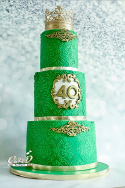 Green Royal 40th Birthday Cake