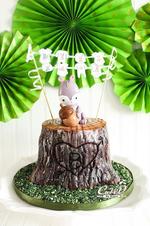 Woodland Tree Stump Baby Shower Cake