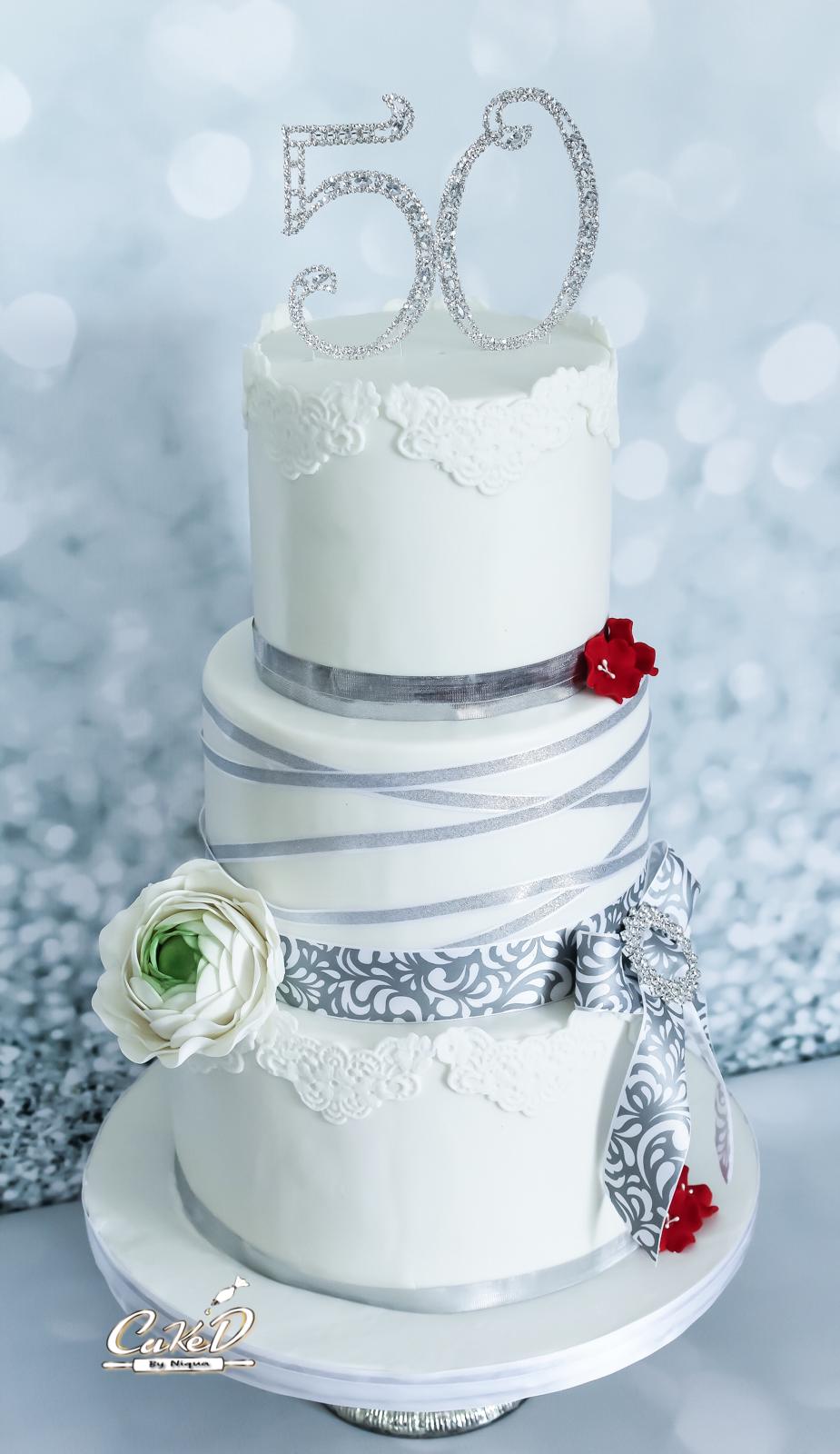 Lace 50th Birthday Cake