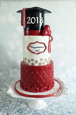 Red and Gold Graduation Cake
