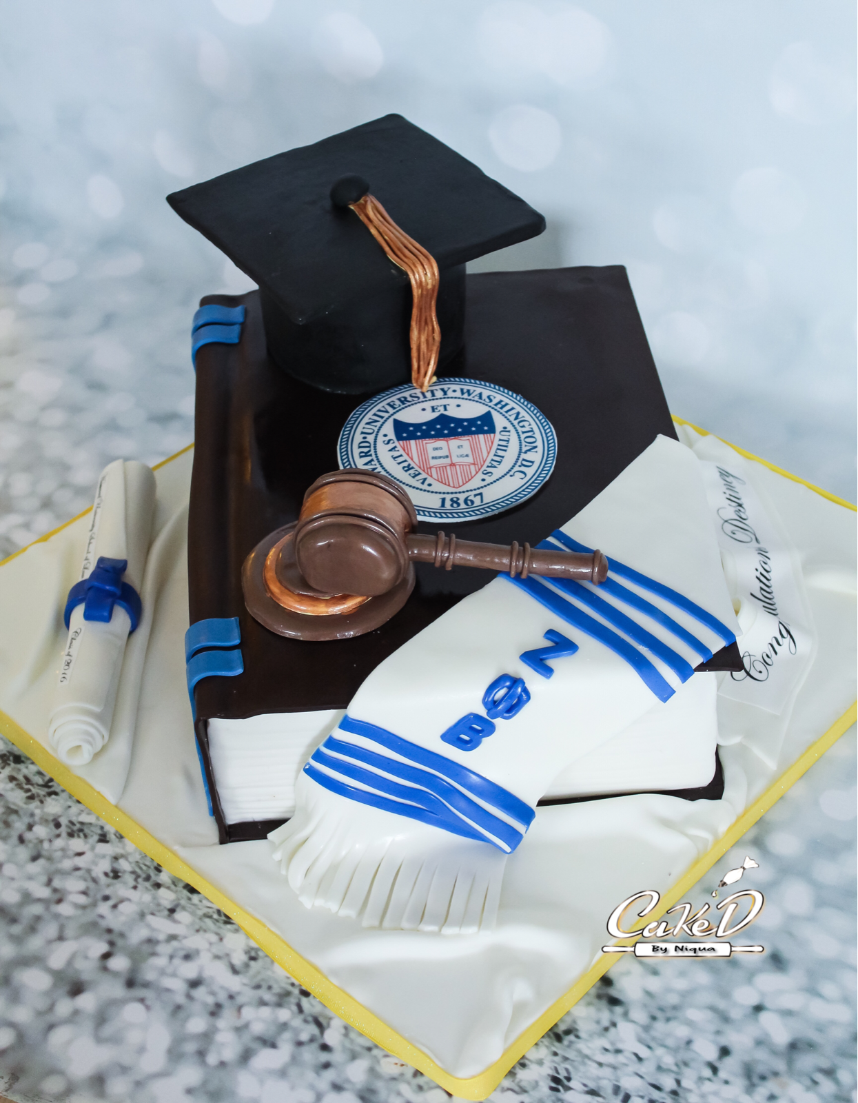 Law School Graduation Book Cake