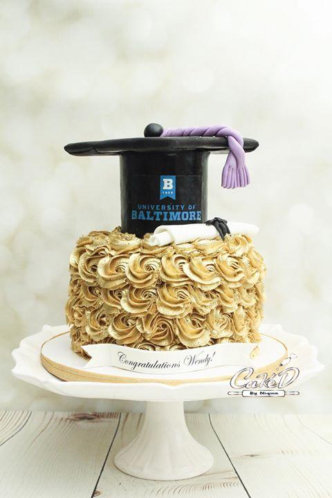 Gold Rosette Graduation Cake