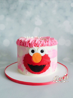 Pink Elmo Smash Cake