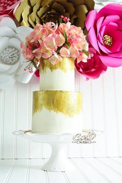 Buttercream Gold Brushed Floral Cake