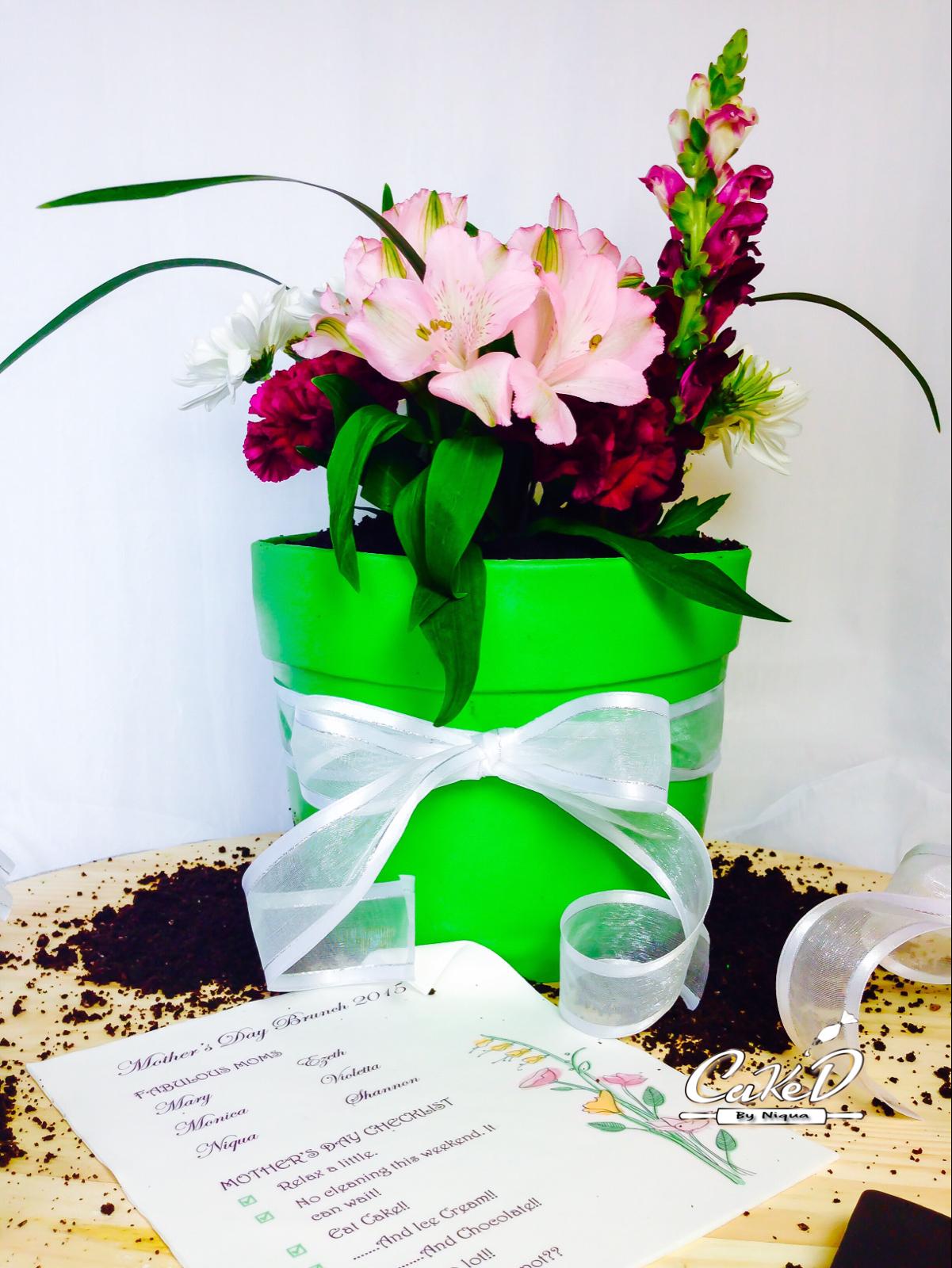 3D Flower Pot Cake