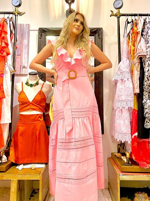 Vestido rosa hojalillo