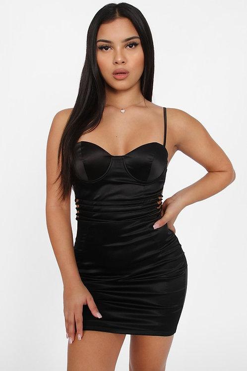 Vestido negro tiras cintura