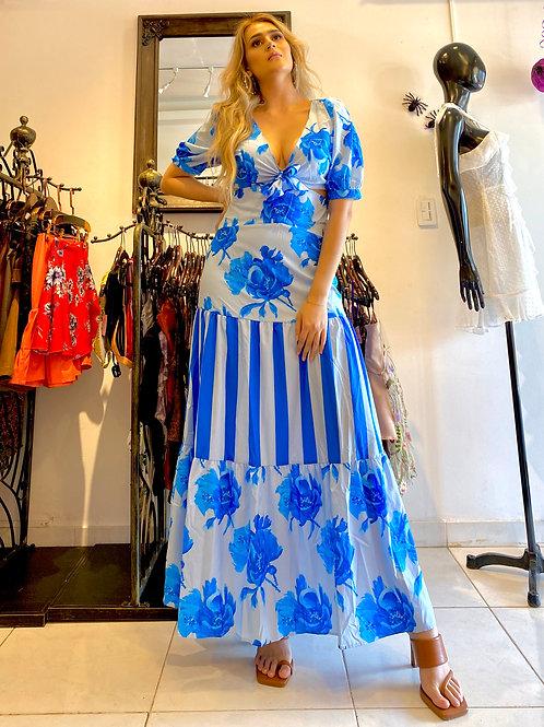 Vestido Azul Floral Sky