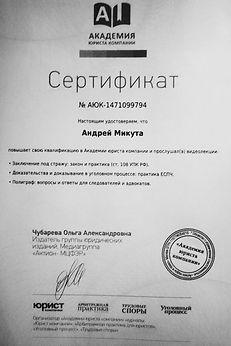 Повышение квалификации адвоката в Тюмени Микуты А.А.