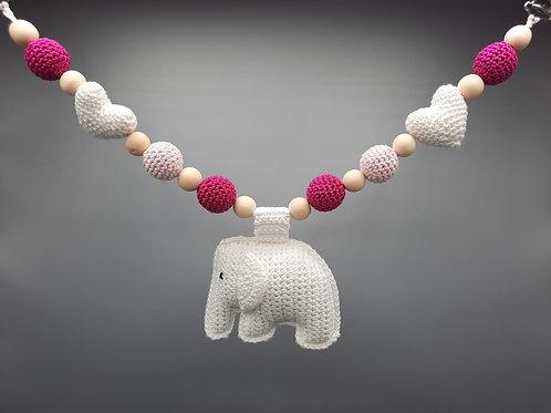 Kinderwagenkette Elefant Weiß/Pink Mix