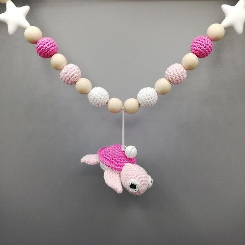 Kinderwagenkette Schildkröte Pink/Rosa