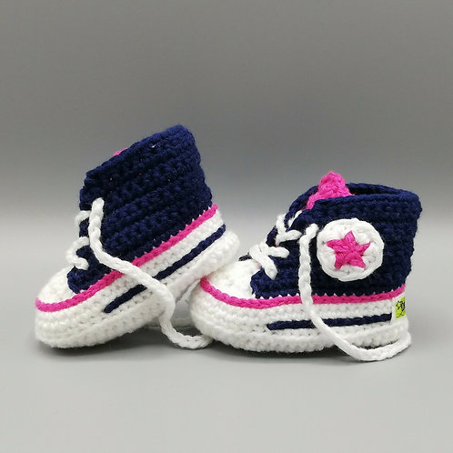 Babyschuhe Dunkelblau/Pink