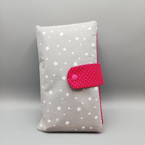 Windeltasche Sterne hellgrau/pink
