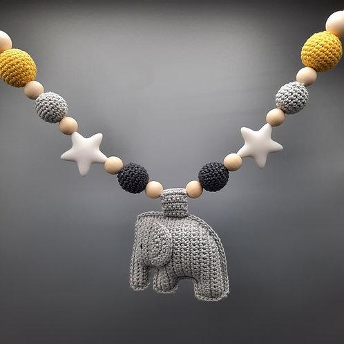 Kinderwagenkette Elefant Grau/Gelb