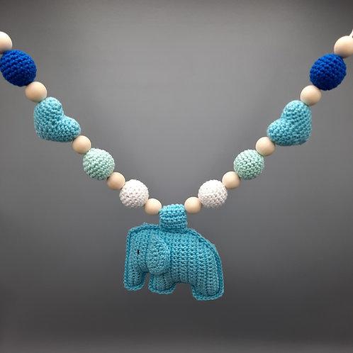 Kinderwagenkette Elefant Blautöne