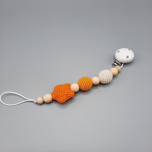 Schnullerkette Stern orange