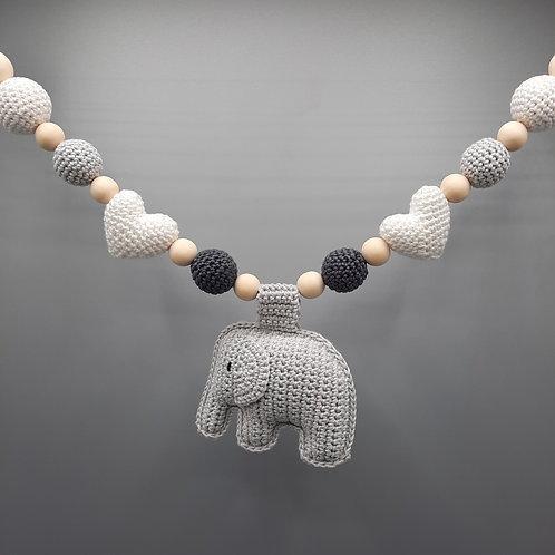 Kinderwagenkette Elefant Grautöne