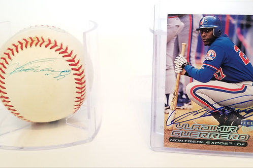 Vladimir Guerrero / Ivan Rodriguez autographed MLB baseball & Baseball card