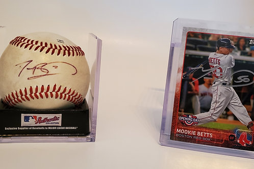 Mookie Betts autographed Baseball & Baseball Card