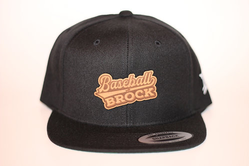 Baseball With Brock snap back hat (Glove Leather Patch)