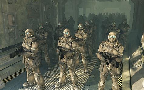 Troupe menaçante de soldats du futur.