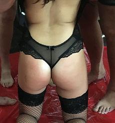 Kitana on her kness suck cock at CaringBull Gangbang