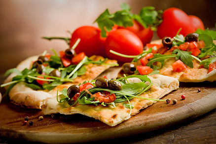 veggie pizza and tomatoes Italy