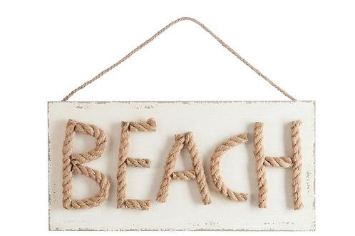 Bord BEACH hout met touw/ naturel/wit