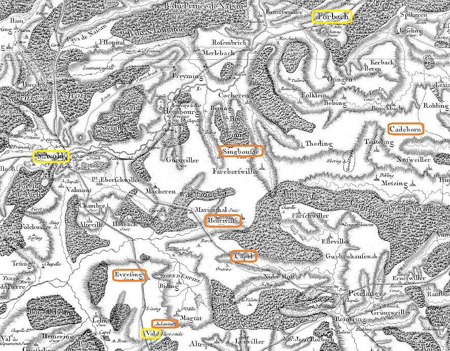 Carte de Cassini des environs de Henriville