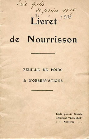 Livret de nourisson d'Eric Gille, source archives familiales