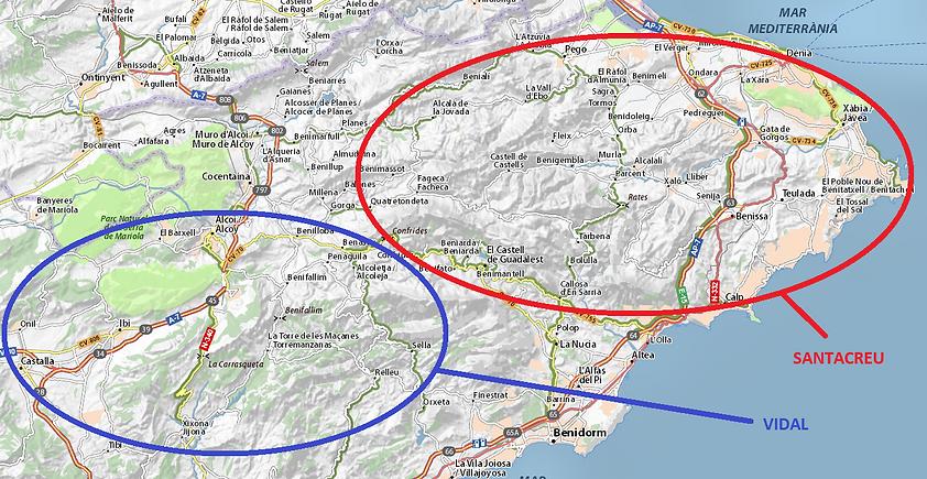 Régions d'origine des familles Vidal et Santacreu, source X Gille