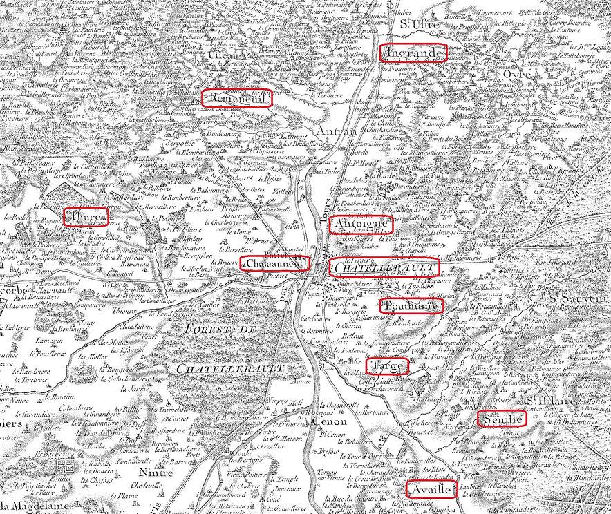 Carte de Cassini des environs de Châtellerault
