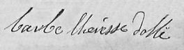 Signature de Barbe Dollé, source Archives départementales