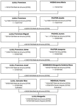 Ascendance patronymique de Margarita Llull, source X Gille