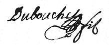 Signature de Benoît Dubouchet (1698-1731), source AD Loire