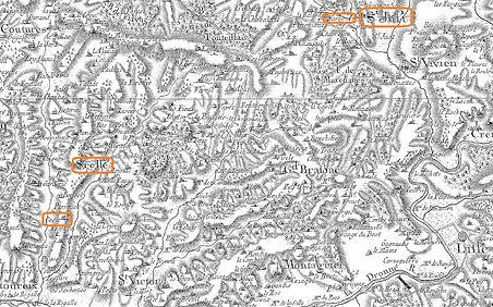 Carte de Cassini des environs de Celle et Saint-Just (Dordogne)