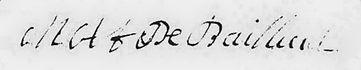 Signature de Marie Anne de Bailleul, source Arcives départementales