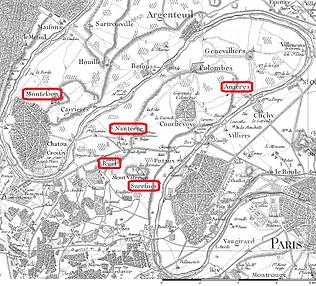 Carte de Cassini de l'ouest parisien, source X Gille